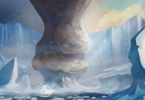 Обои арт, пейзаж, ледники, корабль, Неотмеченные на карте Воды, Uncharted Waters