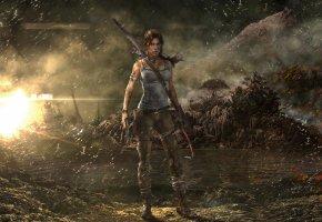 Обои Tomb Raider, Расхитительница гробниц, Лара Крофт, корабль, девушка, дождь, гора