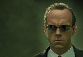 Обои Матрица, The Matrix, Agent Smith, очки, зеленый