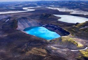 Обои горы, снег, кратер, озеро, голубое