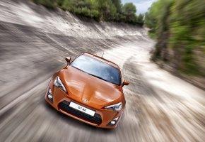 Обои gt86, тойота, дорога, оранжевая, перед, скорость
