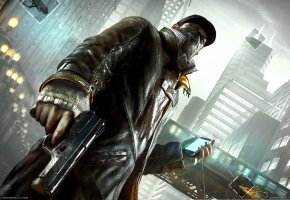 Обои Watch Dogs, Сторожевые Псы, Эйден Пирс, Город, Телефон, Пистолет, Камера, Наблюдения, Связь