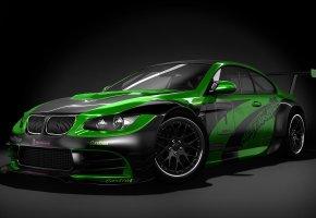 Обои bmw, m3, черно-зеленый, спортивный