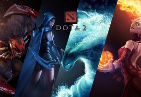 Обои Dota 2, дота 2, Defense of the Ancients, Bloodseeker, Lina Inverse, Traxex, Morphling, сикер, лина, тракса, морф