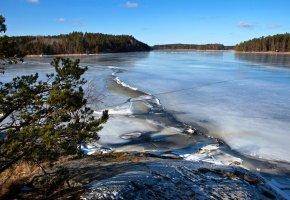 Обои швеция, небо, лес, озеро, лед, деревья, снег
