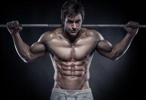 Обои мужчина, спортсмен, мышцы, штанга
