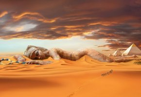 Обои пустыня, пирамиды, статуя, фараон, верблюды