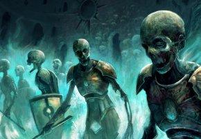 Обои нежить, скелеты, мёртвый мир, черепа, войны