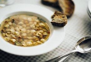 Обои макро, macro, суп, хлеб, ложка