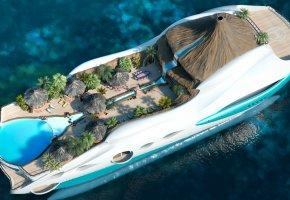 Обои корабль, дом, вода, отдых, курорт, бассейн, бунгало