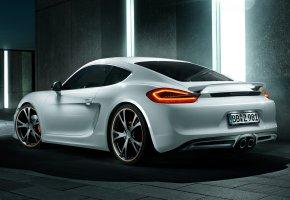 Обои Porsche, Cayman, Порше, Кайман, тюнинг, tuning, фонари, вид сзади