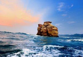 Обои скала, облака, Море, пена, рассвет, закат, волны