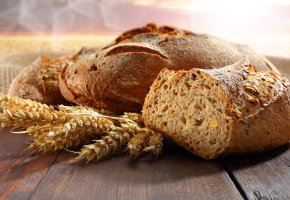 Обои хлеб, колосья, стол, запах, вкусно, корка