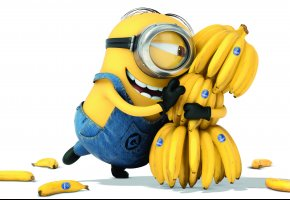 Обои миньон, бананы, белый фон, гадкий я 2