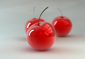 Обои вишни, хвостики, 3д, стекло