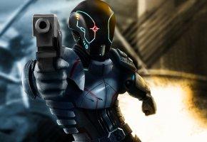 Обои фантастика, арт, шлем, броня, оружие, пистолет, фон, огонь