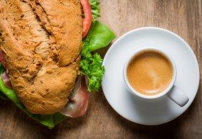 Обои сэндвич, кофе, завтрак, хлеб, мясо
