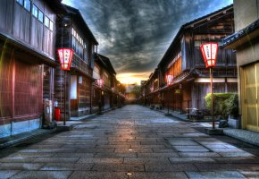 Обои Япония, улица, фонари, дома, закат