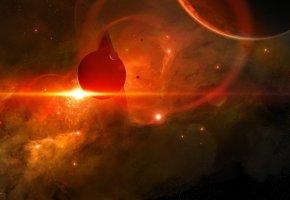 Обои планеты, звезды, галактика, свет, туманность, кольца