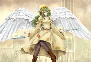 Обои девушка, копье, крылья, кулон, город, платье