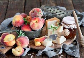 Обои персики, сыр, мед, peaches, cheese, honey