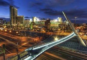 Обои San Diego, California, сша, небо, ночь, дома, огни, мост, опора