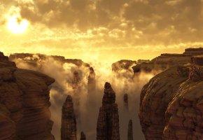 Обои небо, облака, туман, закат, горы, скалы, каньон, ущелье