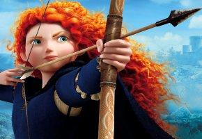 Обои brave, merida, девушка, принцеса, рыжая, лук, стрела