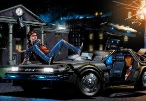 Обои назад в будущее, Back to the Future, Marty McFly, DeLorean DMC-12, автомобиль