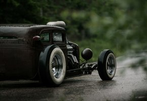 Обои Chevrolet, Chevy, Hot Rod, Rat Rod, V6, 540ci, Сзади, Мокрая, Дорога