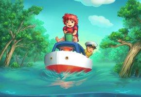 Обои рыбка поньо на утёсе, Хаяо Миядзаки, Сооскэ, Поньо, вода, наводнение, корабль, деревья