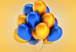 Обои воздушные шары, желтые, синие, праздник