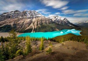 Обои canada, горы, небо, облака, озеро, деревья, лес
