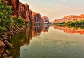 Обои река, скалы, камни, горы, отражение