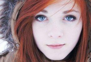 Обои Девушка, Рыжая, Волосы, Взгляд, Глаза, Губы, Капюшон, Лицо, Rose Leslie Ygritte.