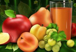 Обои фрукты, яблоко, груша, виноград, стакан, сок, татюрморт