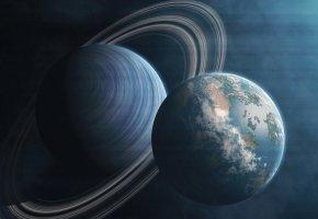 Обои планета, спутник, кольца, вселенная