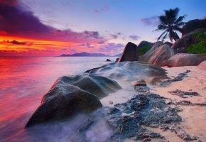Обои закат, океан, тропики, остров, пляж, камни