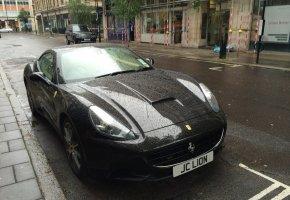 Обои Ferrari, California, Black, черная, дождь, Rain