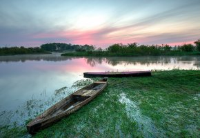 Обои озеро, лодки, утро, рассвет, лето