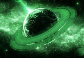 Обои вселенная, планета, кольца, луч, звезды
