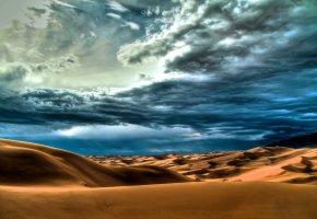 Обои пустыня, небо, облака, пасмурно, песок