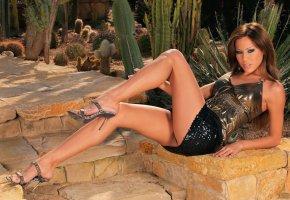 Обои Anita Pearl, модель, ножки, платье, красавица