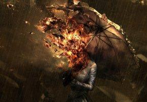 Обои девушка, огонь, дождь, зонт