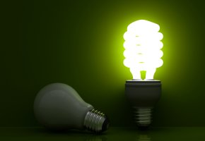 Обои лампочка, эконом, свет, фон, зеленый