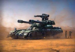 Обои танк, оружие, пушки, люди, пустыня