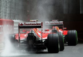 Обои F1, ferrari, гонки, автоспорт, формула 1, брызги