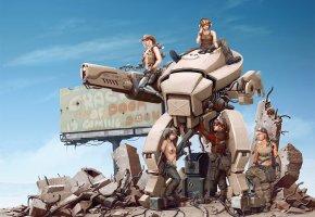 Обои девушки, руины, баннер, оружие, Арт, робот