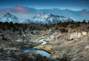 Обои Горячий Ручей, горный каньон, Калифорния, Восточная Сьерра-Невада