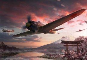 Обои самолеты, япония, полет, река, горы